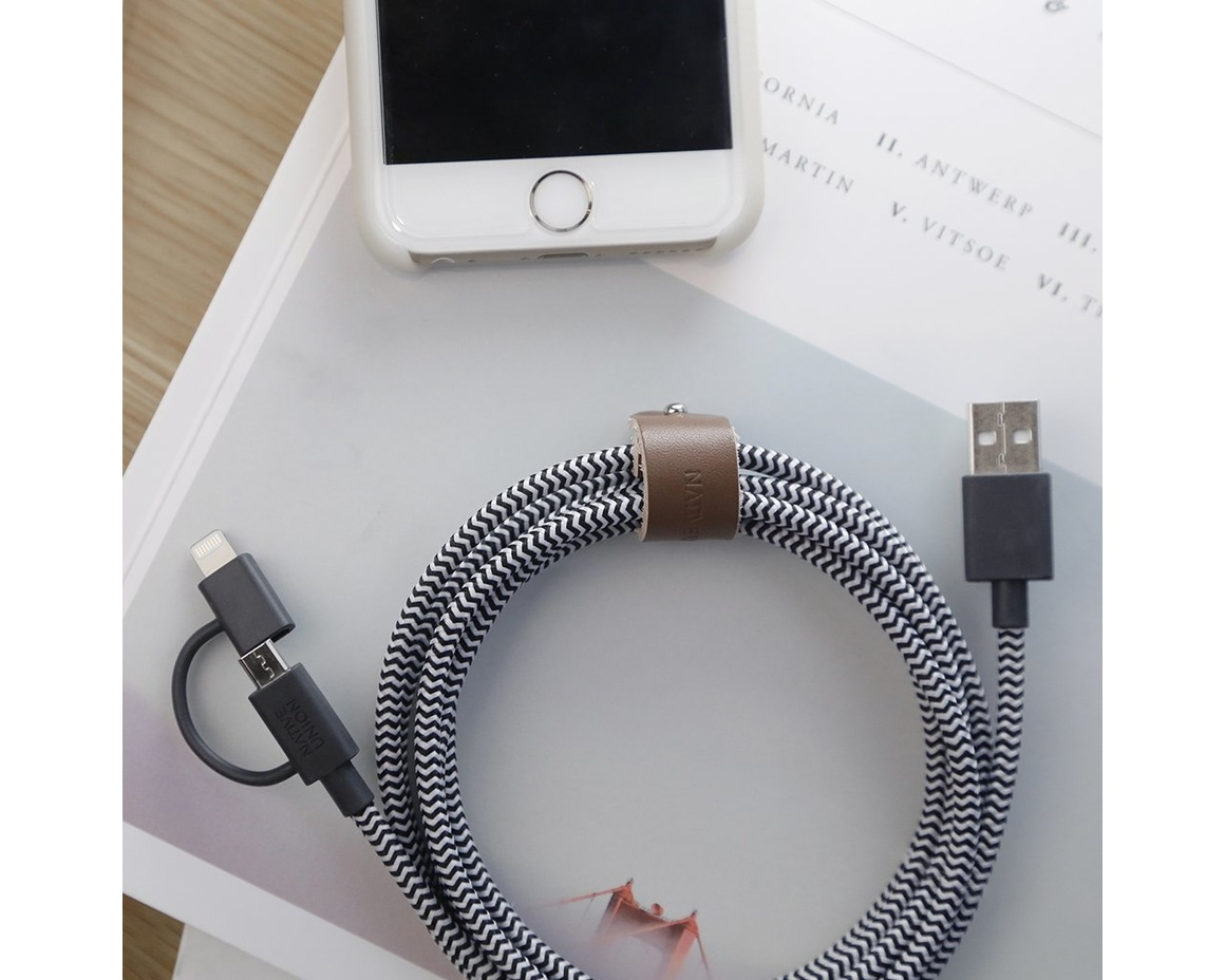 Native Union Belt Cable TwinHead Lightning/Micro USB 2m - Zebra
