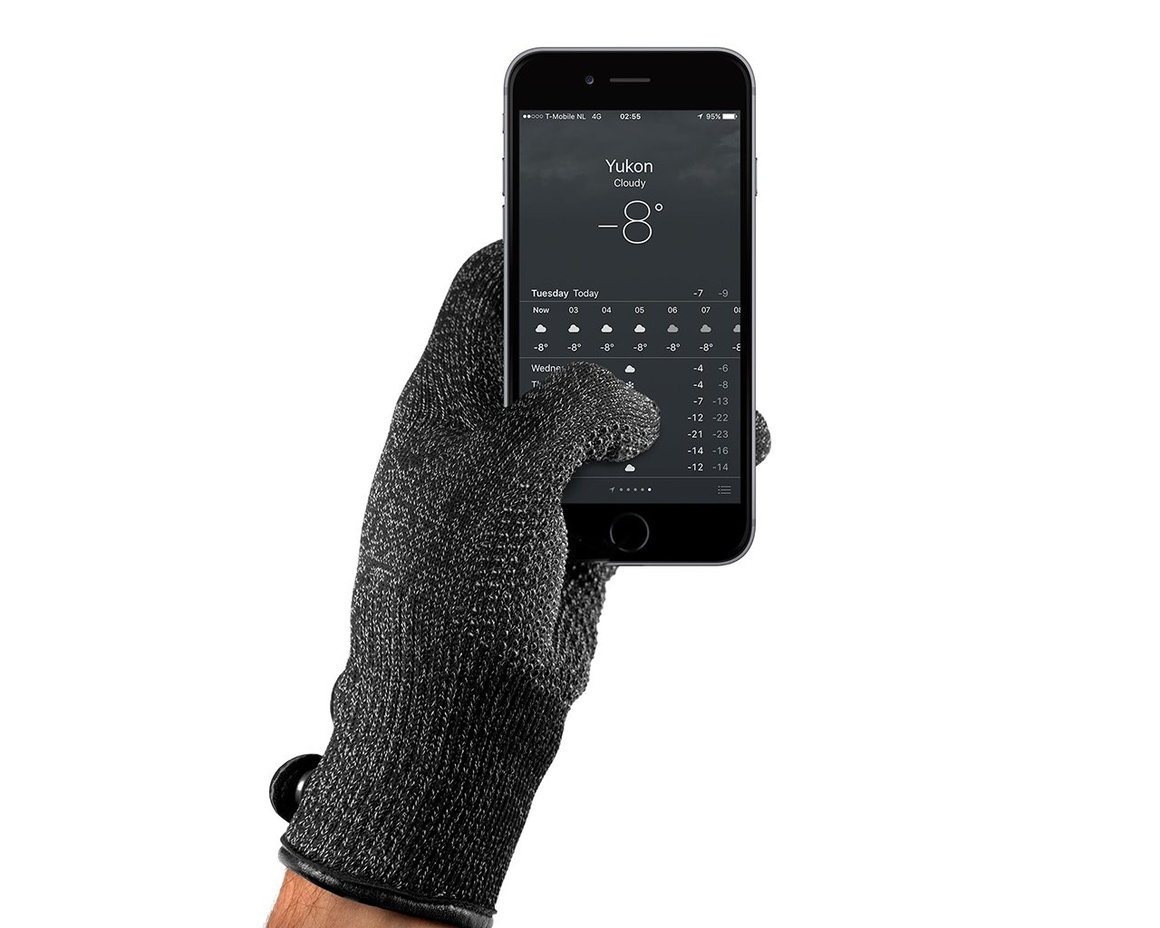Mujjo Double-Layered Touchscreen Gloves  Medium - Svart