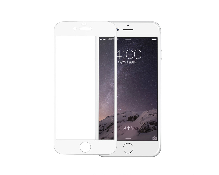 Pomologic - Curved Tempered Glass Screen Protector iPhone 7 -  White