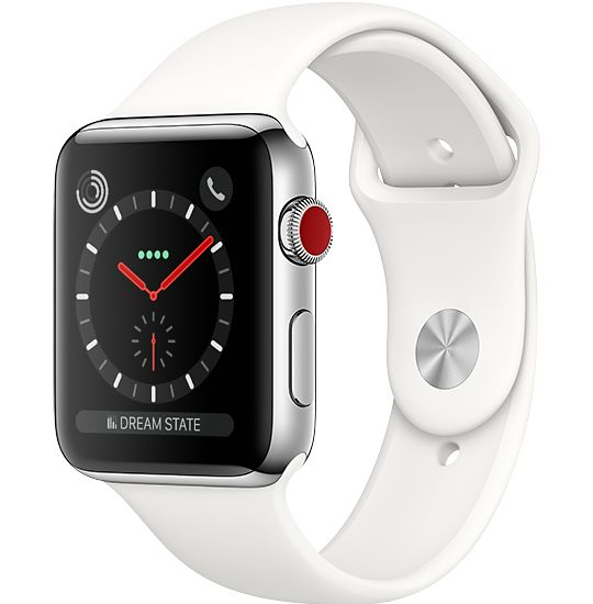 Apple Watch Series 3 GPS + Cellular 38mm Boett i Rostrfritt Stål med Krämvitt Sportband