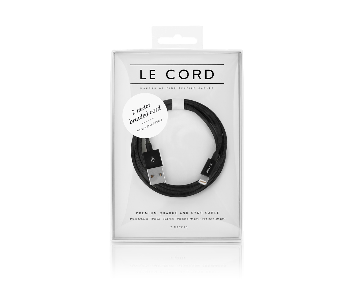 LE CORD Lightning till USB Kabel 2m - Black