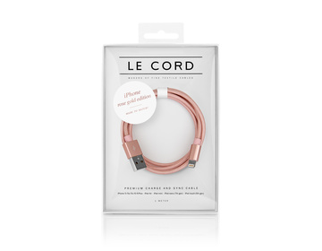 LE CORD Lightning till USB Kabel 1m - Rose Gold