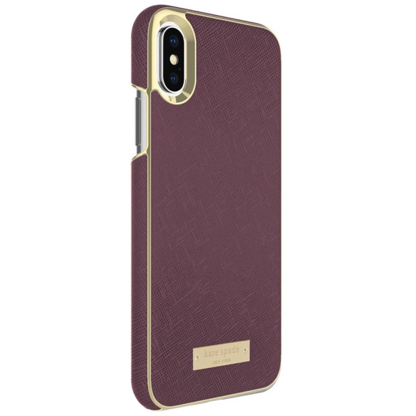 Kate Spade Inlay Wrap Case for iPhone X Mahogany