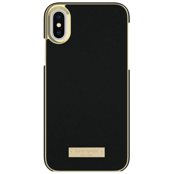 Kate Spade Inlay Wrap Case for iPhone X Saffiano Black/Gold Logo Plate