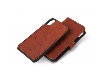 Decoded - 2 in 1 Leather Wallet Case Magnet for iPhone X/XS Brun