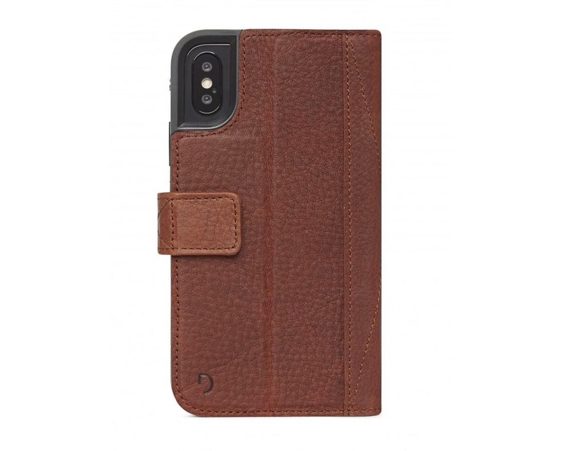 Decoded - Leather Impact Protection Wallet for iPhone X/XS Brun