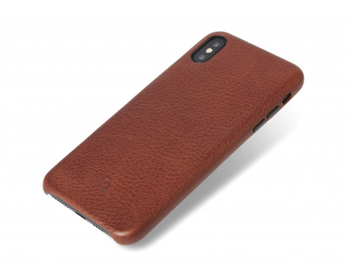 Decoded - Leather Back Cover för iPhone XS Max Brun