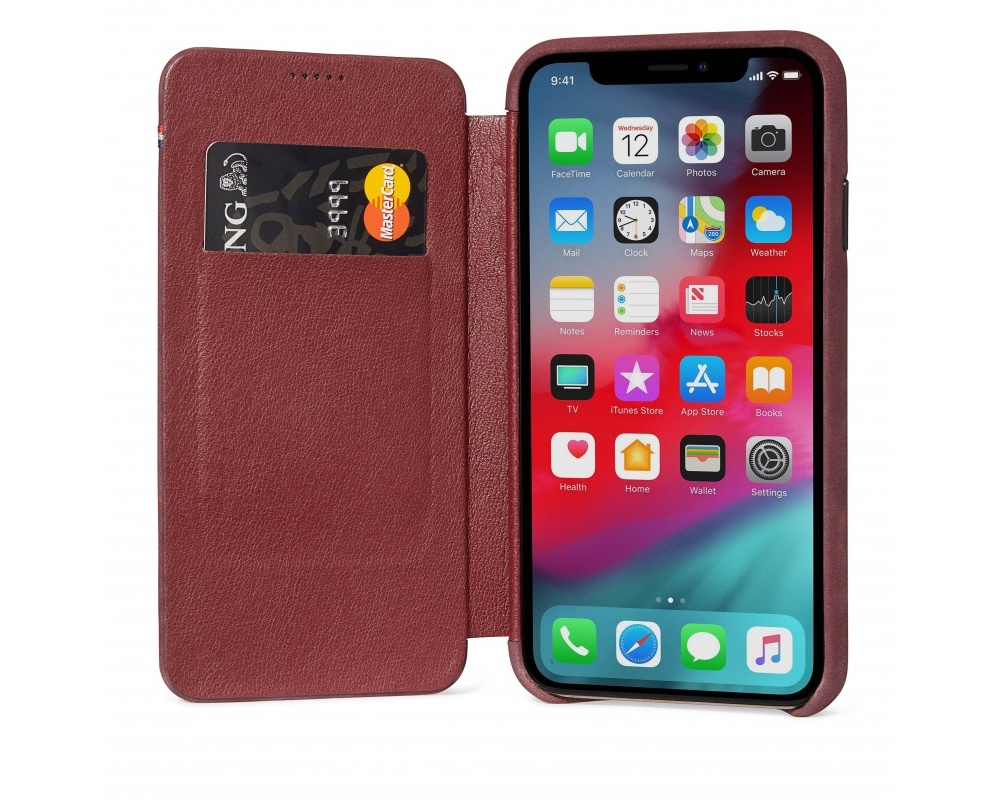 Decoded - Leather Slim Wallet för iPhone X/XS Vinröd