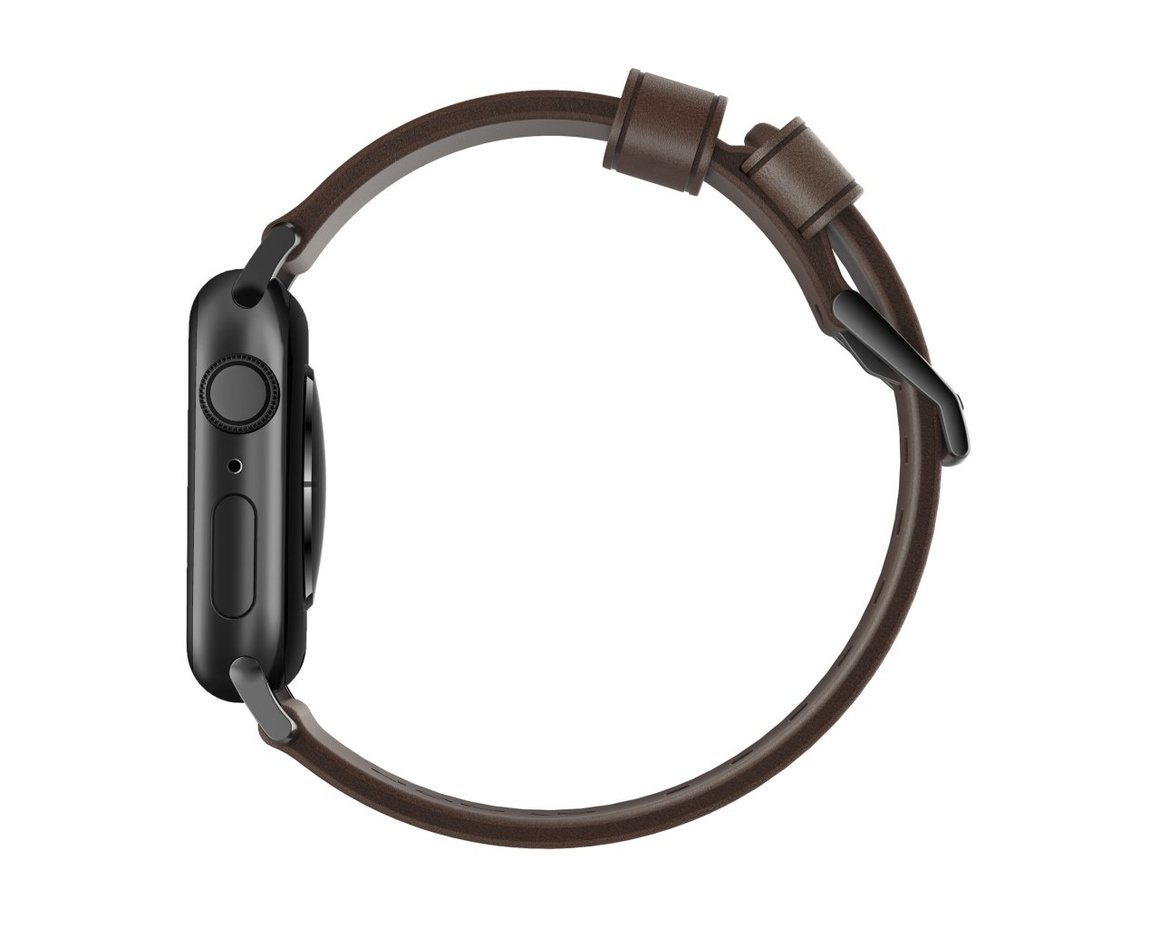 Nomad - Modern Strap - 40mm/38mm - Black Hardware - Rustic Brown Leather