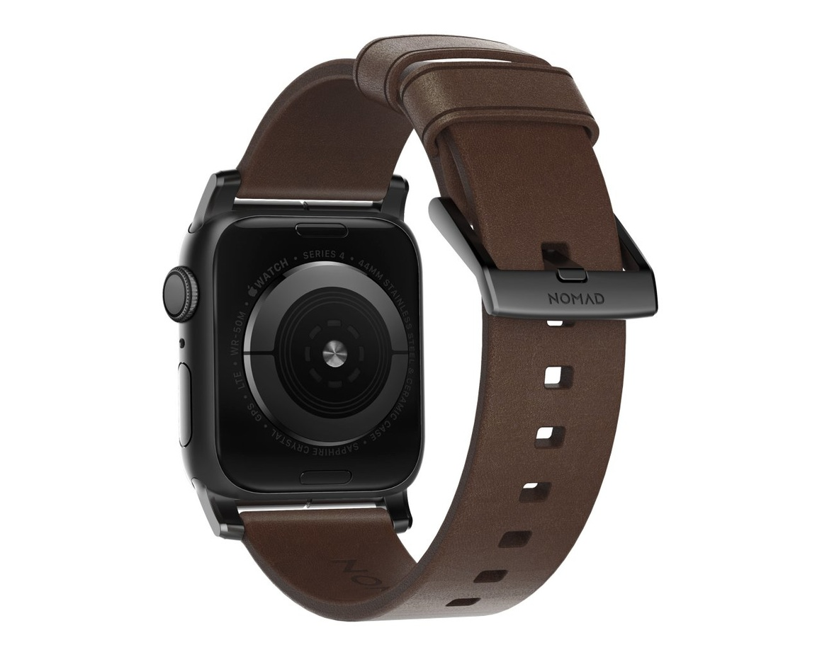 Nomad - Modern Strap - 44mm/42mm - Black Hardware - Rustic Brown Leather
