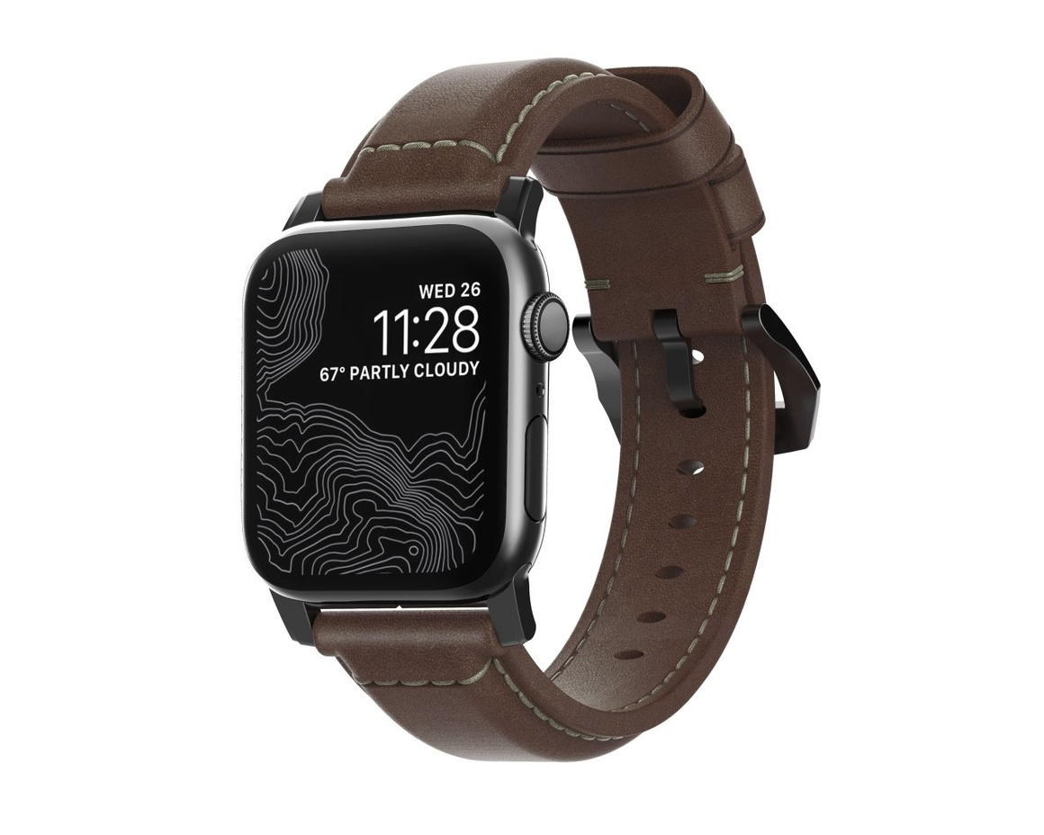 Nomad - Traditional Strap - 40mm/38mm - Black Hardware - Rustic Brown Leather