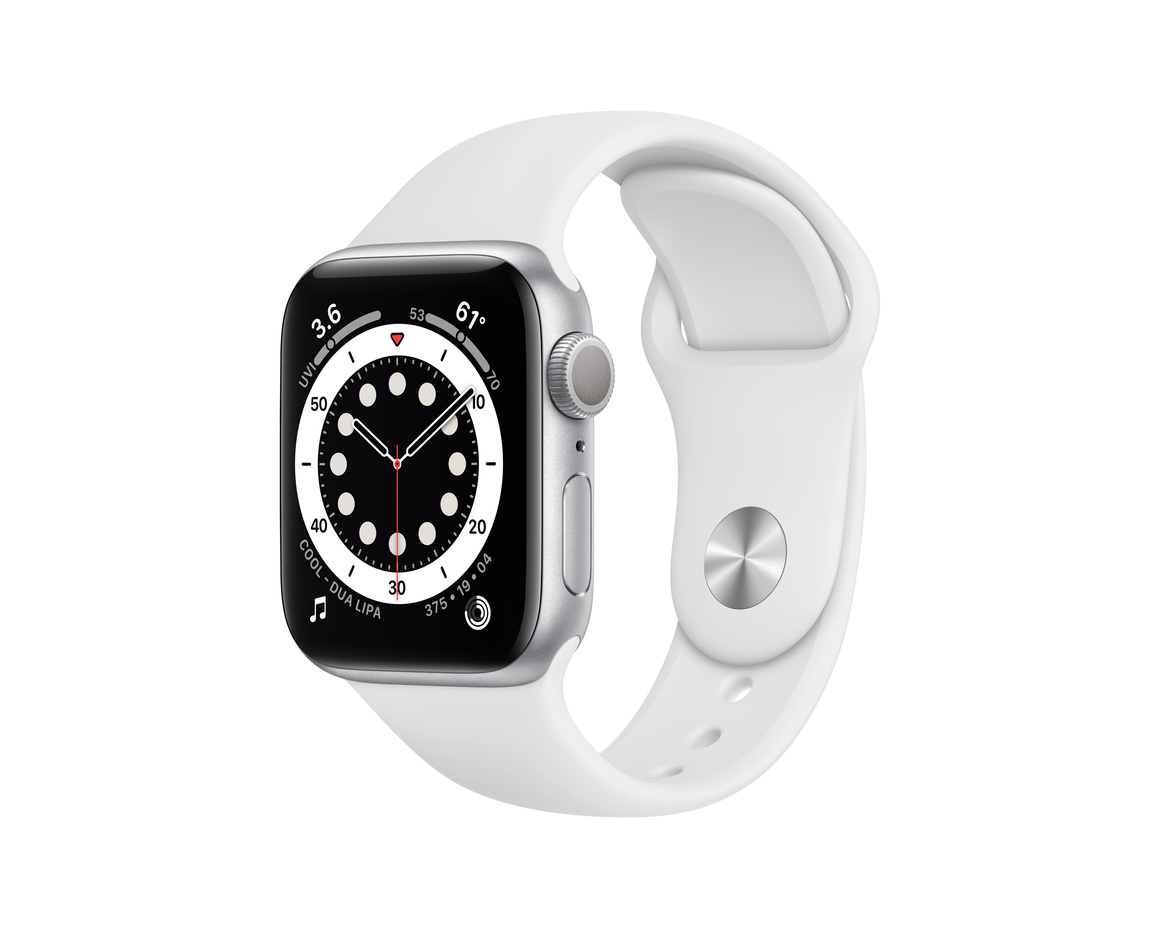 Apple Watch Series 6 GPS 40mm Aluminiumboett i Silver med Vitt Sportband - Regular