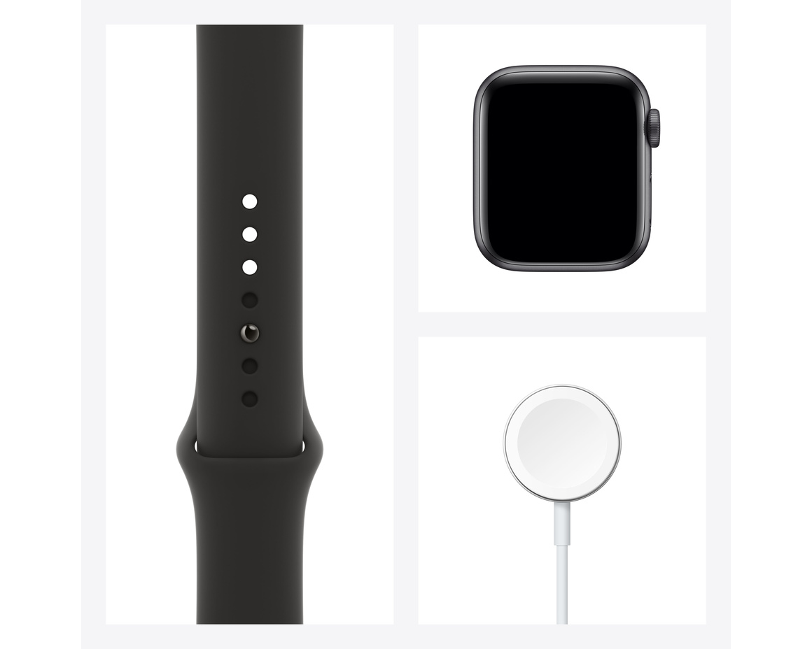 Apple Watch Series 6 GPS + Cellular 40mm Aluminiumboett i Rymdgrått med Svart Sportband - Regular