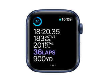 Apple Watch Series 6 GPS + Cellular 44mm Aluminiumboett i Blå med Djupblå marin Sportband - Regular
