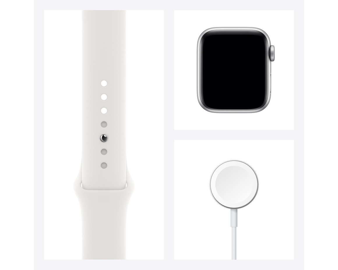 Apple Watch Series 6 GPS + Cellular 40mm Rostfri Stålboett Silver med Vitt Sportband - Regular