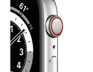 Apple Watch Series 6 GPS + Cellular 44mm Rostfri Stålboett Silver med Vitt Sportband - Regular